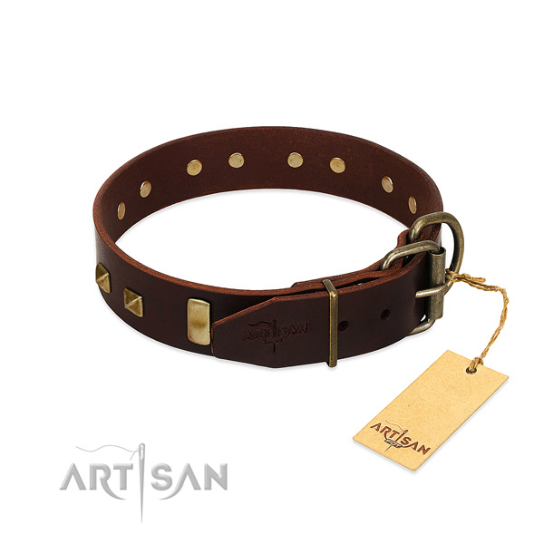 Top rate full grain leather dog collar with corrosion proof buckle