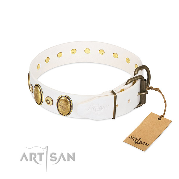 Gentle to touch natural leather collar created for your dog