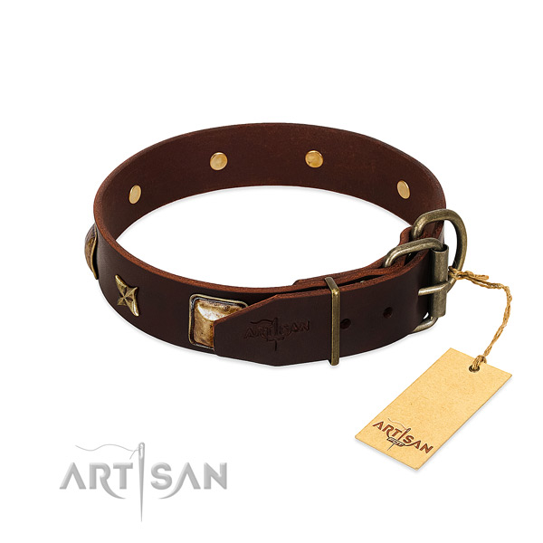 Leather dog collar with rust-proof buckle and studs