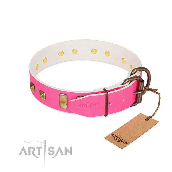 Leather dog collar with corrosion resistant decorations