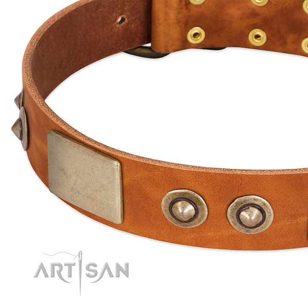 Durable D-ring on full grain genuine leather dog collar for your doggie