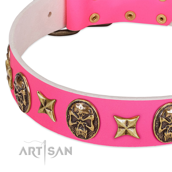 Full grain leather dog collar with corrosion proof traditional buckle