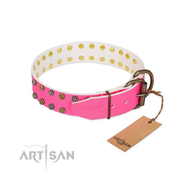Gentle to touch natural leather collar with decorations for your dog