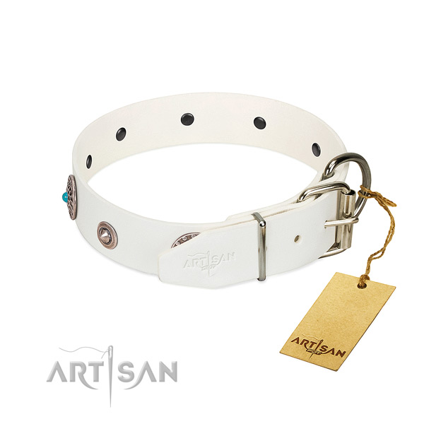 Designer embellished genuine leather dog collar