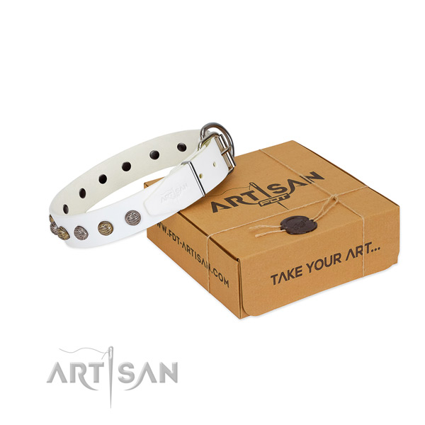 Full grain natural leather collar with inimitable adornments for your dog
