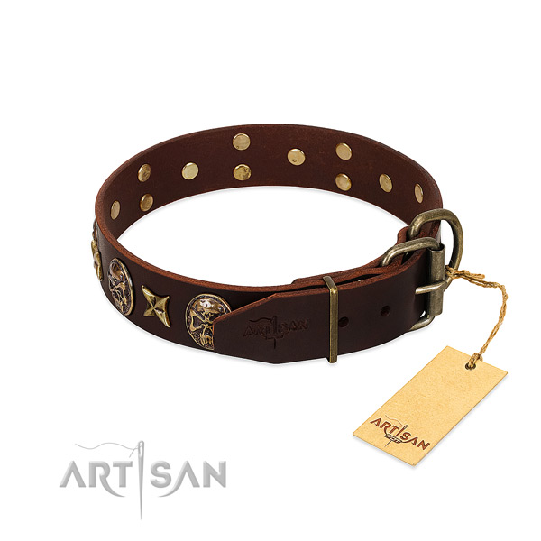 Strong traditional buckle on genuine leather dog collar for your canine