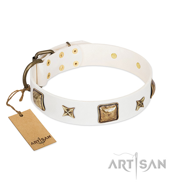 Unusual full grain natural leather collar for your doggie