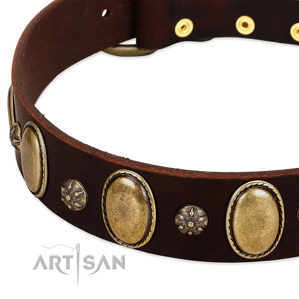 Stylish walking high quality genuine leather dog collar