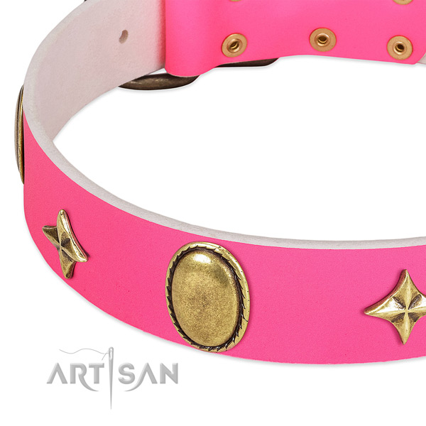 Best quality leather dog collar with corrosion resistant D-ring