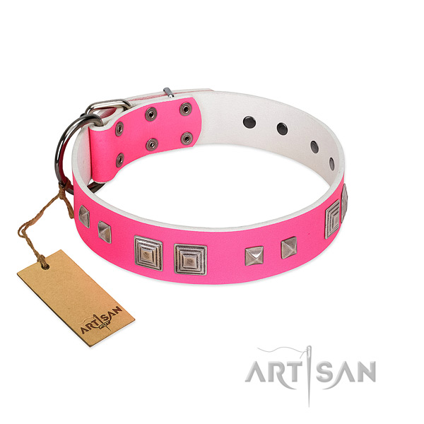 Everyday walking gentle to touch full grain genuine leather dog collar