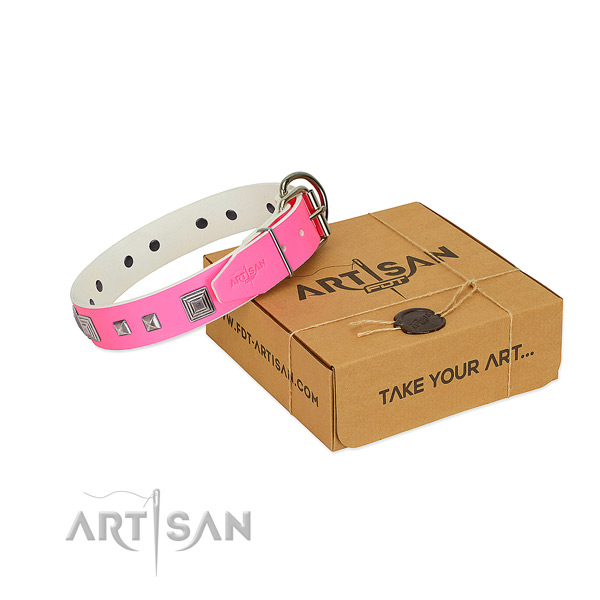 Gentle to touch genuine leather collar with adornments for your pet