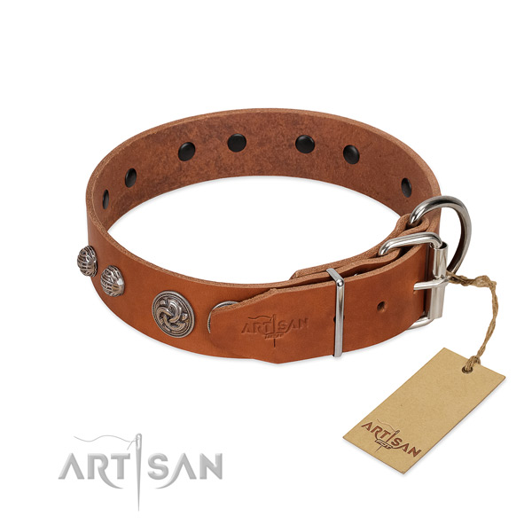 Durable buckle on genuine leather dog collar for your pet