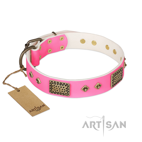Adjustable full grain natural leather dog collar for walking your pet