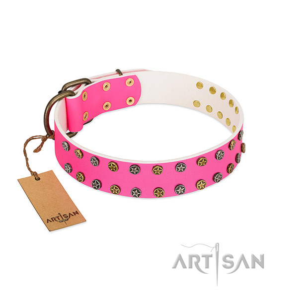 Soft genuine leather collar with embellishments for your doggie
