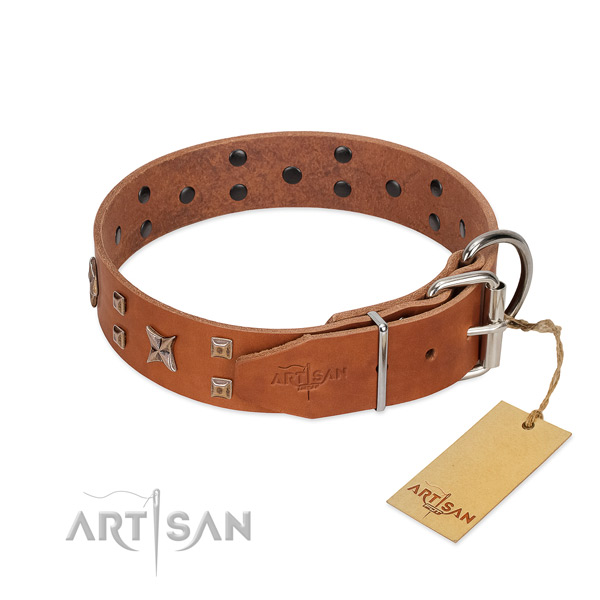 Strong full grain genuine leather dog collar for your lovely pet