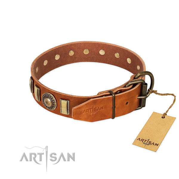 Handmade leather dog collar with strong D-ring