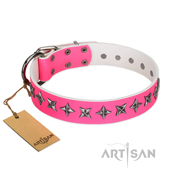 Handy use dog collar of best quality full grain natural leather with decorations