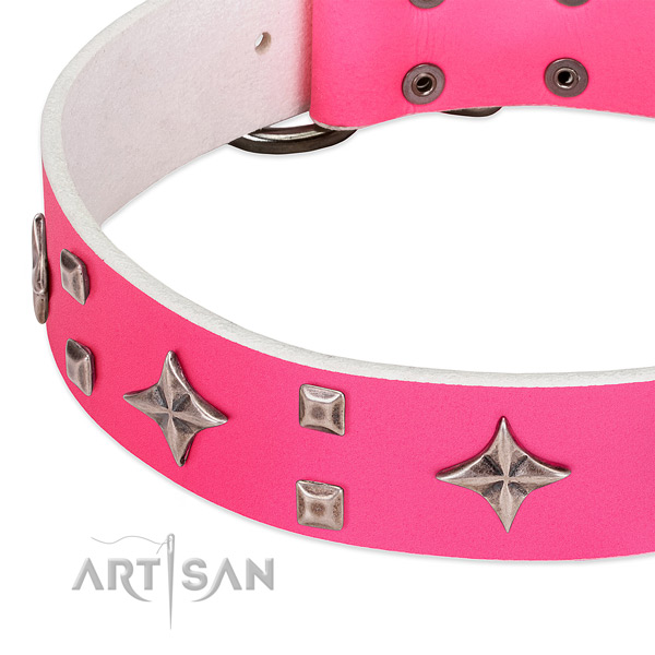Daily use top rate natural leather dog collar with decorations