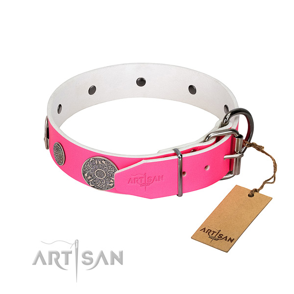 Adorned genuine leather collar for your lovely doggie