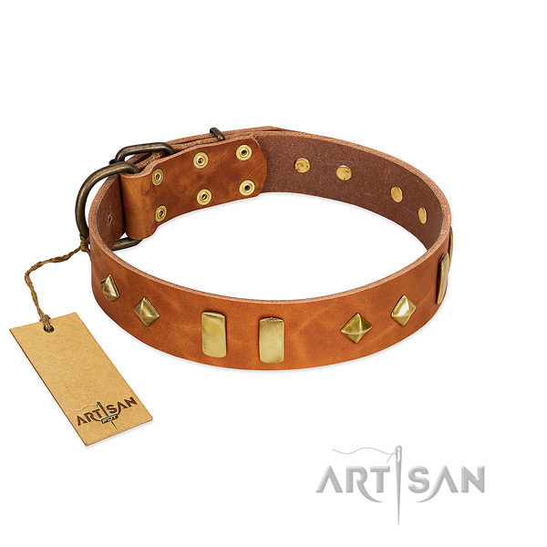 Comfortable wearing reliable full grain genuine leather dog collar with adornments