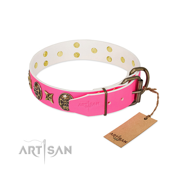 Corrosion resistant D-ring on full grain genuine leather collar for stylish walking your four-legged friend