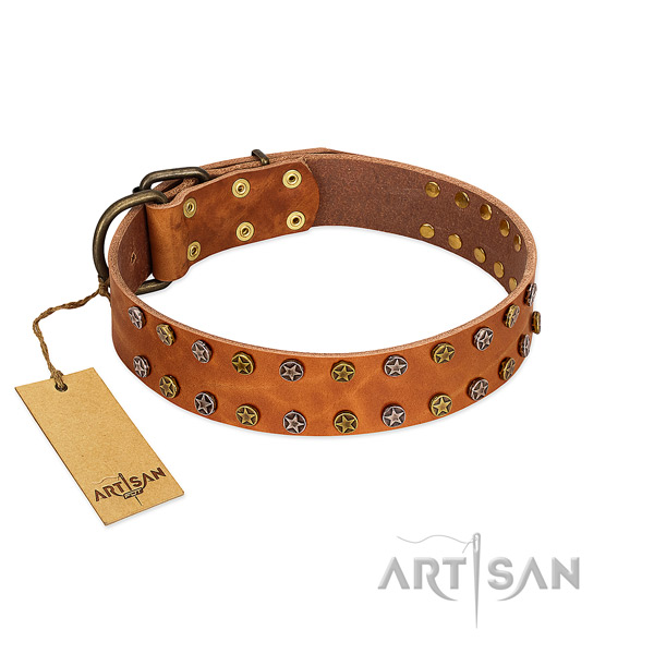 Easy wearing soft to touch genuine leather dog collar with decorations