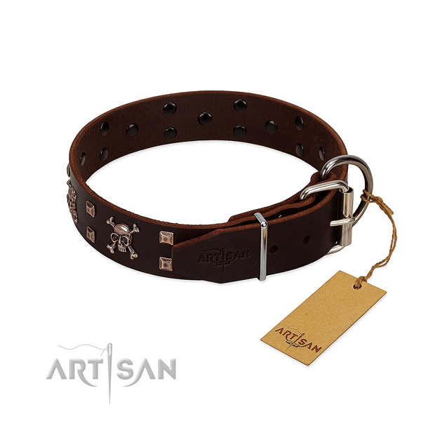 Handy use top notch natural leather dog collar with decorations