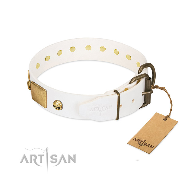 Soft to touch genuine leather collar handmade for your doggie