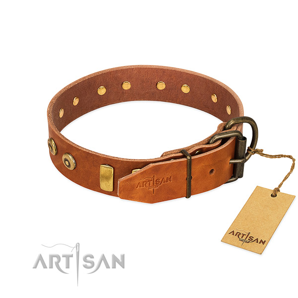 Amazing studded full grain natural leather dog collar of flexible material
