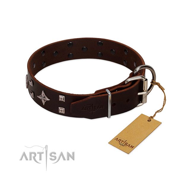 Exquisite genuine leather collar for your doggie stylish walks