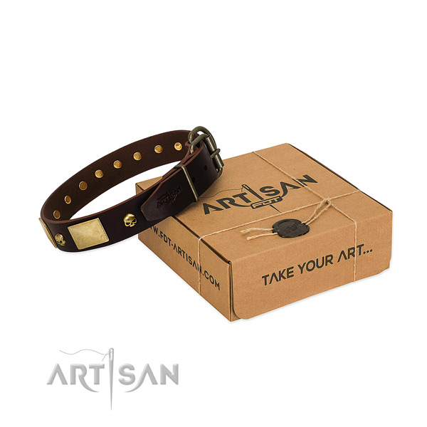 Reliable full grain genuine leather collar with corrosion proof decorations for your canine