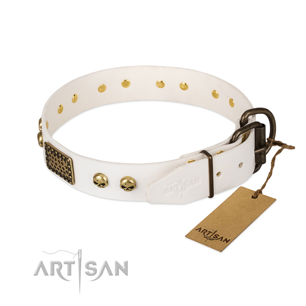 Easy adjustable genuine leather dog collar for basic training your doggie