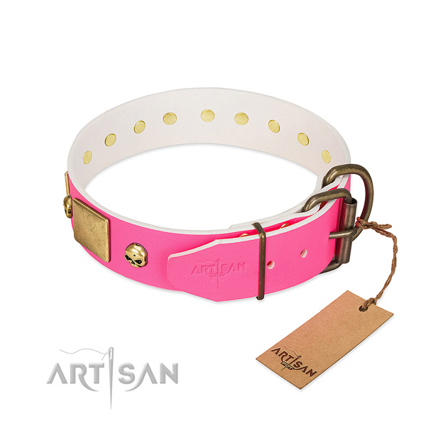 Rust resistant decorations on high quality natural leather dog collar