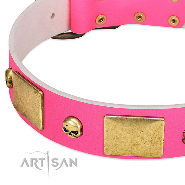 Top rate full grain natural leather collar with corrosion proof decorations for your pet