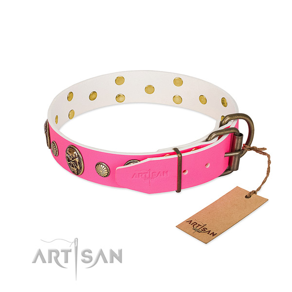 Strong buckle on natural genuine leather dog collar for your canine