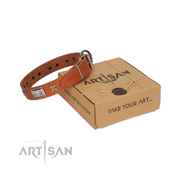 Flexible genuine leather dog collar with strong buckle
