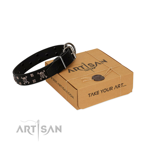 Daily walking reliable leather dog collar with embellishments