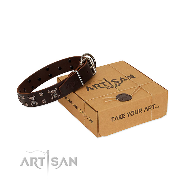 Soft leather dog collar with rust-proof hardware