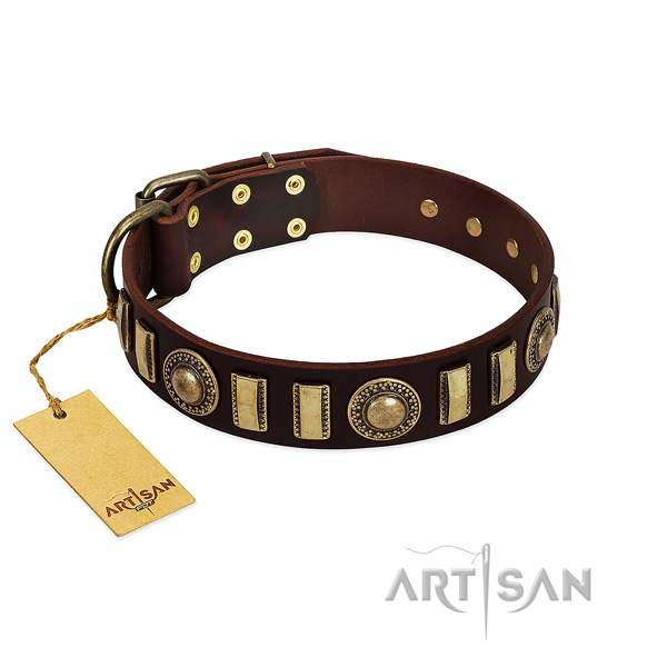 Strong full grain genuine leather dog collar with durable fittings