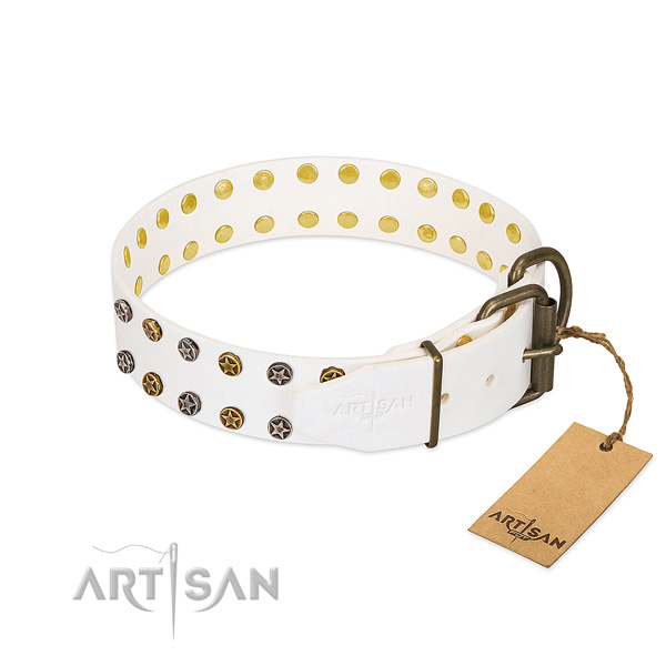 Full grain natural leather collar with inimitable decorations for your canine
