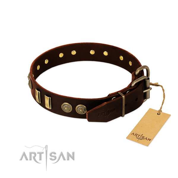 Reliable studs on full grain genuine leather dog collar for your pet