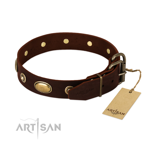 Reliable fittings on genuine leather dog collar for your canine