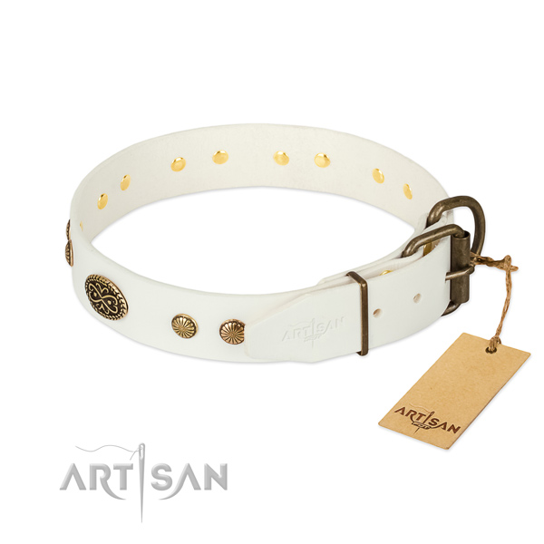 Reliable hardware on full grain genuine leather dog collar for your doggie
