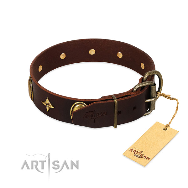 High quality leather dog collar with corrosion resistant decorations