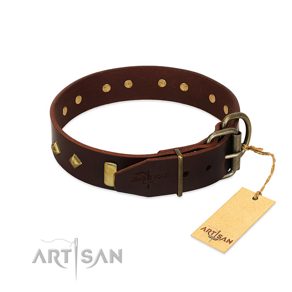 Genuine leather dog collar with corrosion resistant hardware for fancy walking