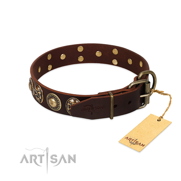 Walking natural genuine leather collar with decorations for your doggie