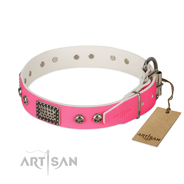 Durable buckle on comfortable wearing dog collar