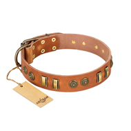"""Natural Beauty"" FDT Artisan Tan Leather Mastiff Collar with Old Bronze-like Circles and Plates"