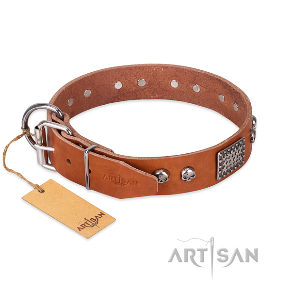 Rust-proof D-ring on comfy wearing dog collar