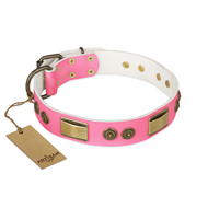"""Sunrise Glow"" FDT Artisan Pink Leather Mastiff Collar with Old Bronze Look Plates and Round Studs"